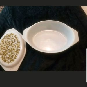 Vintage Pyrex Green Olive Oval Covered Casserole